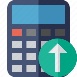 accounting, calculate, calculator, finance, math, upload icon
