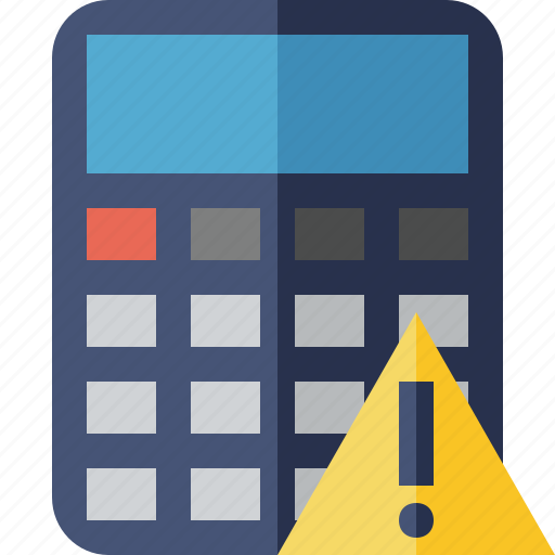 accounting, calculate, calculator, finance, math, warning icon