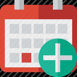 add, calendar, date, day, event, month, schedule icon
