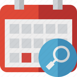 calendar, date, day, event, month, schedule, search icon
