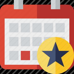 calendar, date, day, event, month, schedule, star icon
