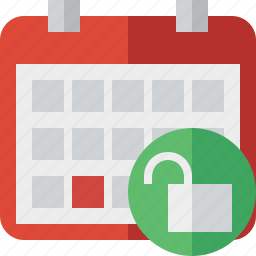 calendar, date, day, event, month, schedule, unlock icon
