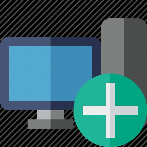 add, computer, desktop, monitor, server icon