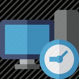 clock, computer, desktop, monitor, server icon