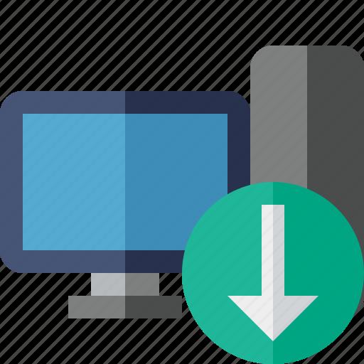 computer, desktop, download, monitor, server icon