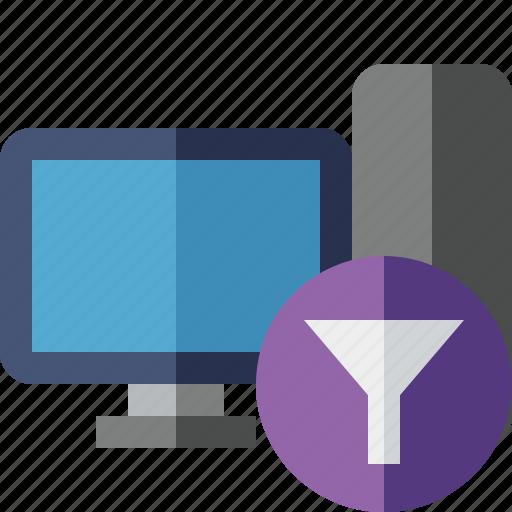computer, desktop, filter, monitor, server icon