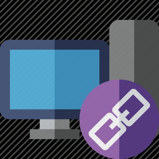 computer, desktop, link, monitor, server icon