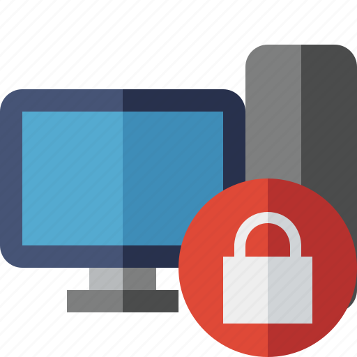computer, desktop, lock, monitor, server icon