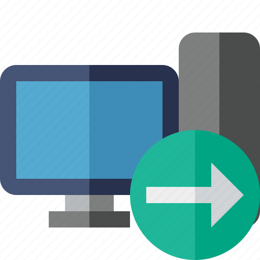 computer, desktop, monitor, next, server icon