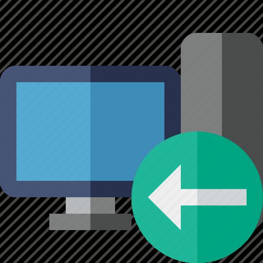 computer, desktop, monitor, previous, server icon