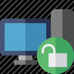 computer, desktop, monitor, server, unlock icon