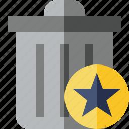 delete, garbage, remove, star, trash icon