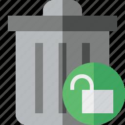 delete, garbage, remove, trash, unlock icon