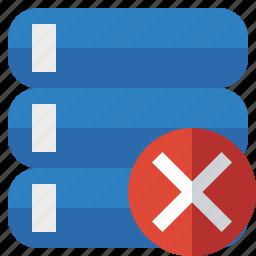 cancel, data, database, server, storage icon