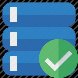 data, database, ok, server, storage icon