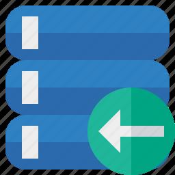 data, database, previous, server, storage icon