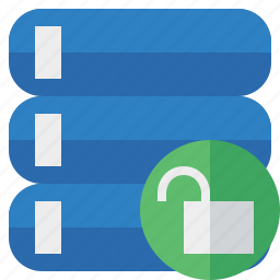 data, database, server, storage, unlock icon