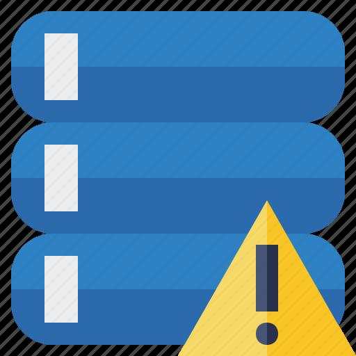 data, database, server, storage, warning icon
