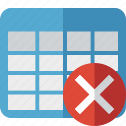 cancel, cell, data, database, grid, row, table icon