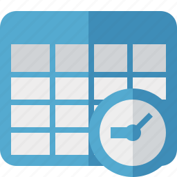cell, clock, data, database, grid, row, table icon
