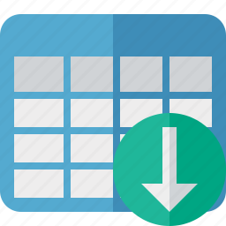 cell, data, database, download, grid, row, table icon