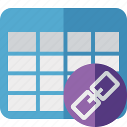 cell, data, database, grid, link, row, table icon