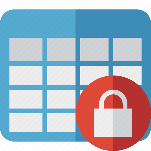 Cell, data, database, grid, lock, row, table icon - Download on Iconfinder