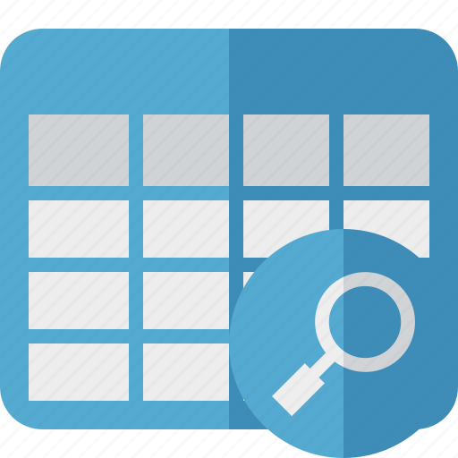 cell, data, database, grid, row, search, table icon