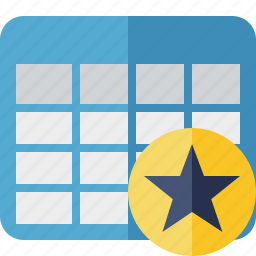 cell, data, database, grid, row, star, table icon