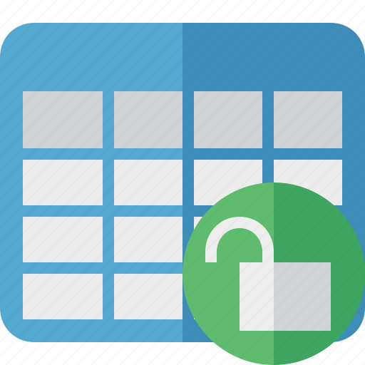 cell, data, database, grid, row, table, unlock icon