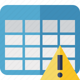 cell, data, database, grid, row, table, warning icon