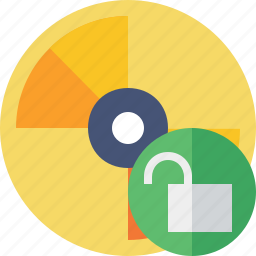 cd, disc, disk, dvd, unlock icon