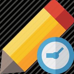 clock, draw, edit, pen, pencil, tool, write icon