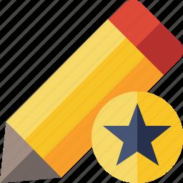 draw, edit, pen, pencil, star, tool, write icon