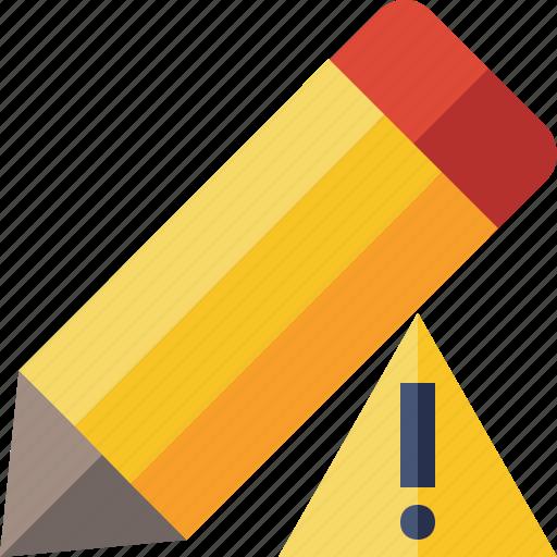 draw, edit, pen, pencil, tool, warning, write icon