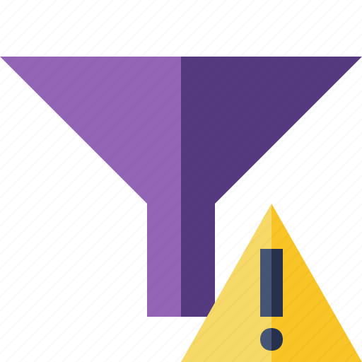filter, funnel, sort, tools, warning icon