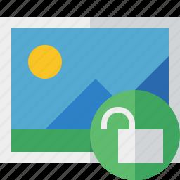 gallery, image, photo, picture, unlock icon