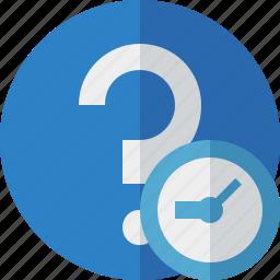 clock, faq, help, question, support icon