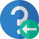 faq, help, previous, question, support icon