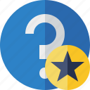 faq, help, question, star, support icon
