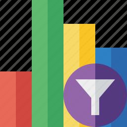 analytics, bar, chart, filter, graph, report, statistics icon