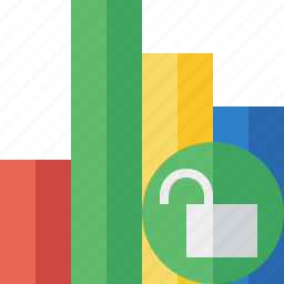 analytics, bar, chart, graph, report, statistics, unlock icon