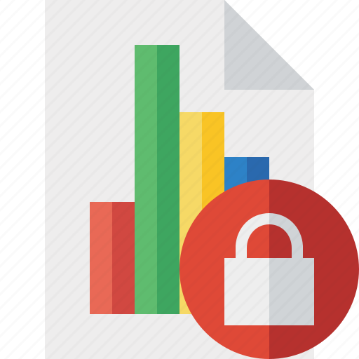 bar, chart, document, file, graph, lock, report icon