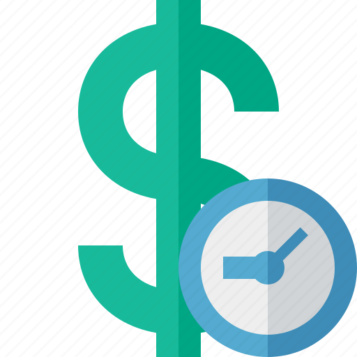 business, cash, clock, currency, dollar, finance, money icon