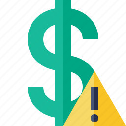 business, cash, currency, dollar, finance, money, warning icon