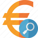 search, finance, business, money, cash, currency, euro icon