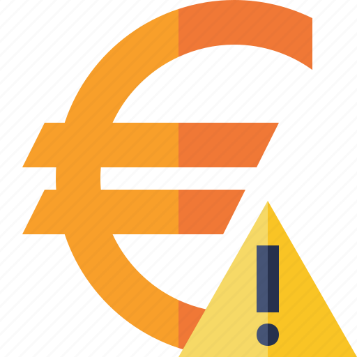 business, cash, currency, euro, finance, money, warning icon