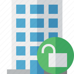 building, business, company, estate, house, office, unlock icon