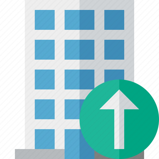 building, business, company, estate, house, office, upload icon