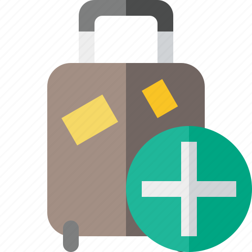 add, bag, baggage, luggage, suitcase, travel, vacation icon